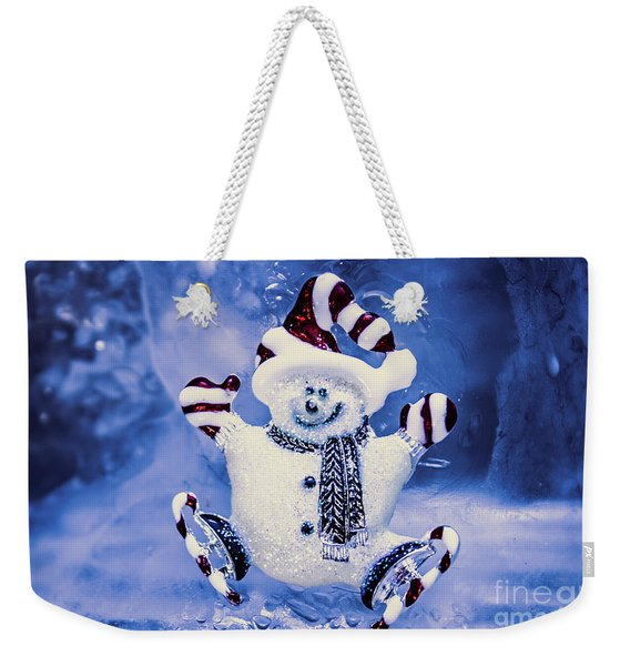 Cute Snowman In Ice Skates Weekender Tote Bag