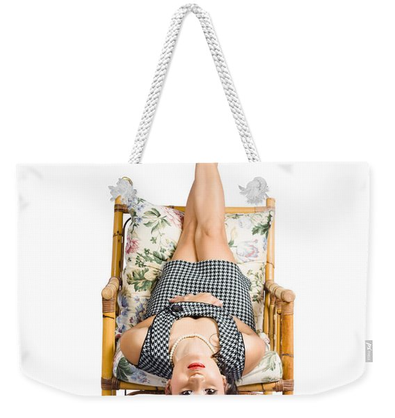 Cute Young Woman Sitting Upside Down On Chair Weekender Tote Bag