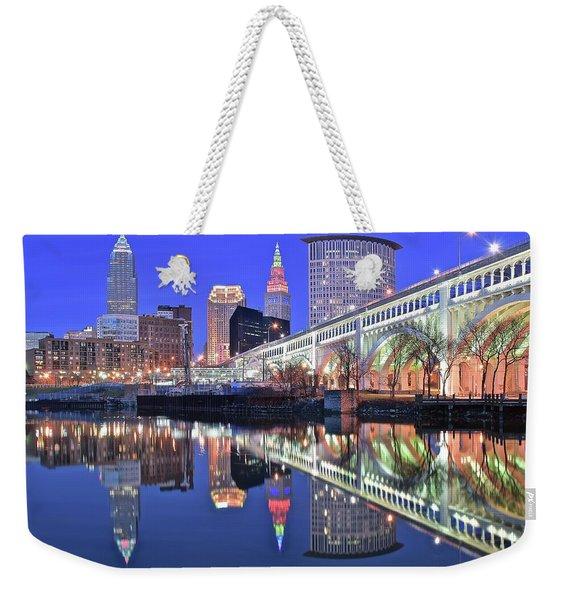 Cuyahoga River Blue Hour Weekender Tote Bag
