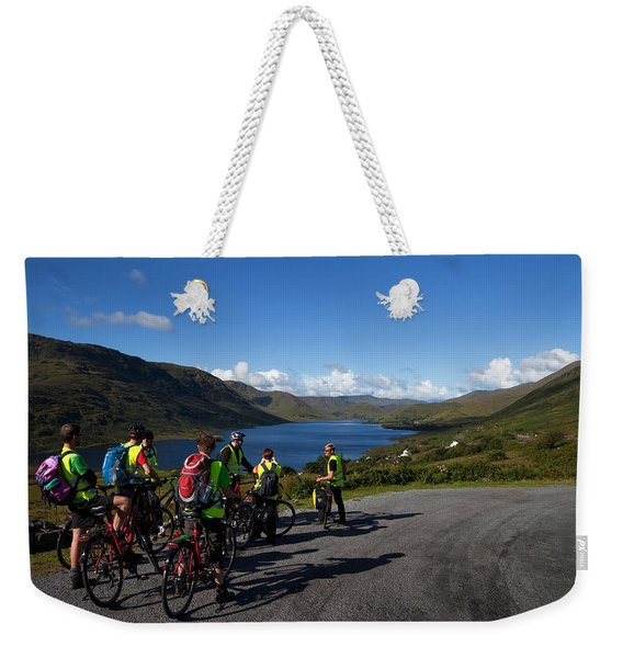 Cyclists Above Lough Nafooey, Shot Weekender Tote Bag