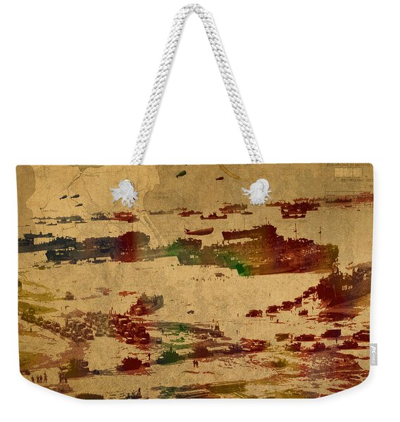 D Day Landing At Normandy France World War Two Watercolor On Old Canvas Map Of War Plans Weekender Tote Bag