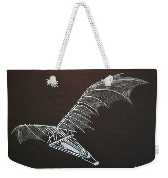 Weekender Tote Bag featuring the painting Da Vinci Flying Machine by Richard Le Page