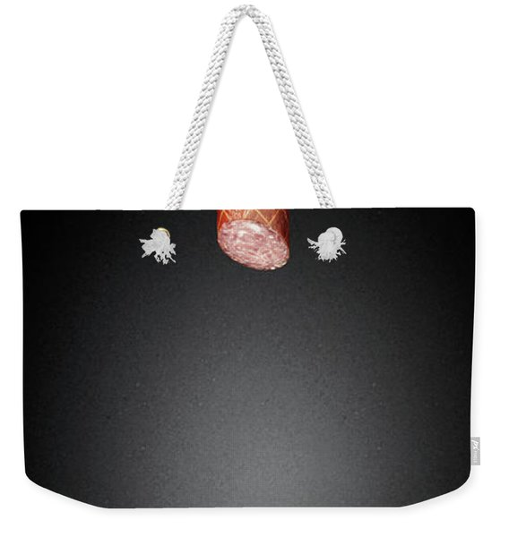 Dachshund Looking Up At Salami Weekender Tote Bag