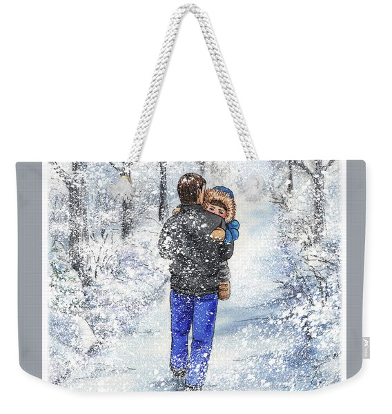 Dad And Child In The Winter Snow Weekender Tote Bag