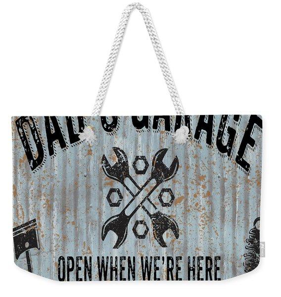 Dads Garage On Sheet Metal Weekender Tote Bag