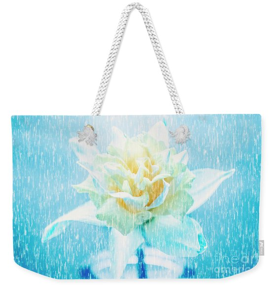 Daffodil Flower In Rain. Digital Art Weekender Tote Bag