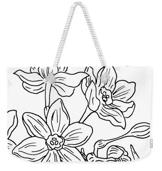 Daffodils And Butterflies Drawing Weekender Tote Bag