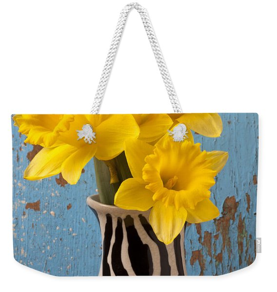 Daffodils In Wide Striped Vase Weekender Tote Bag