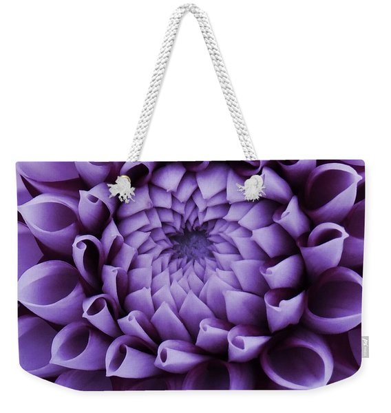 Weekender Tote Bag featuring the photograph Dahlia Macro In Lavender by Patricia Strand