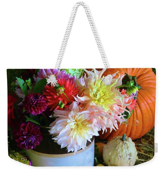 Dahlia Pumpkin Still Life Weekender Tote Bag