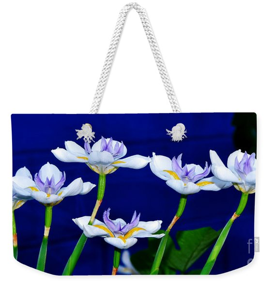 Dainty White Irises All In A Row Weekender Tote Bag
