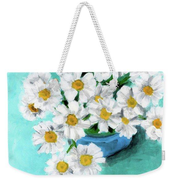 Daisies In Blue Bowl Weekender Tote Bag