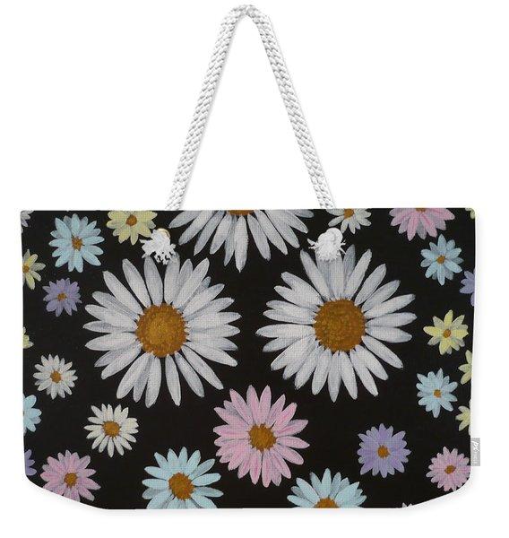 Daisies On Black Weekender Tote Bag
