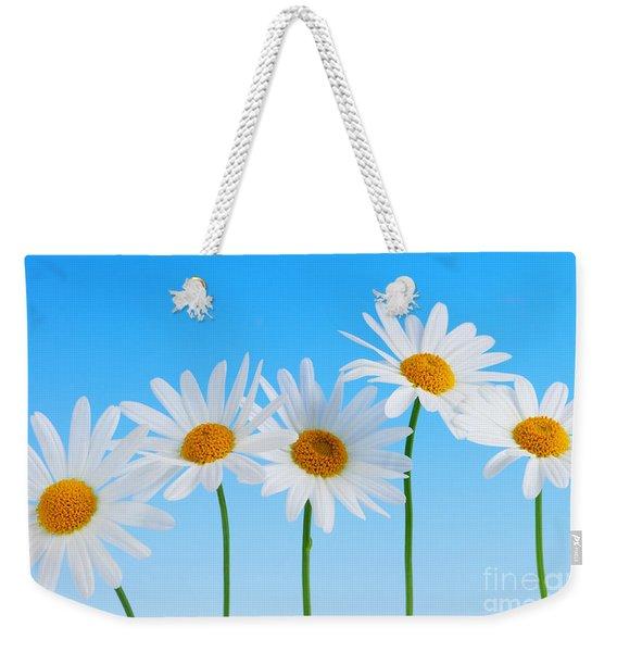 Daisy Flowers On Blue Weekender Tote Bag