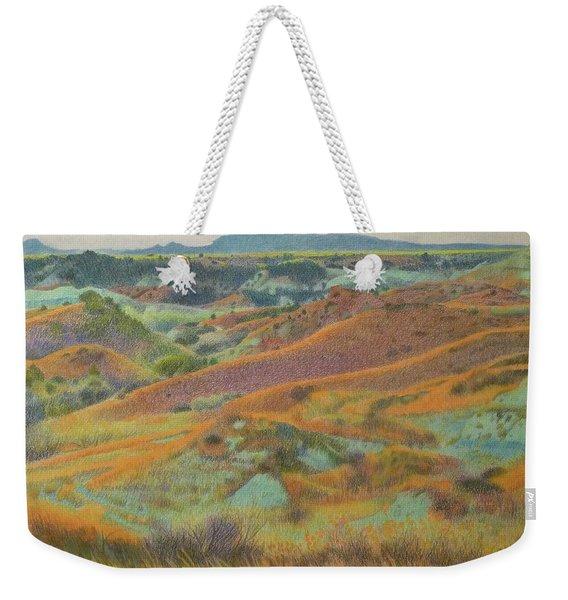 Weekender Tote Bag featuring the pastel Dakota October by Cris Fulton