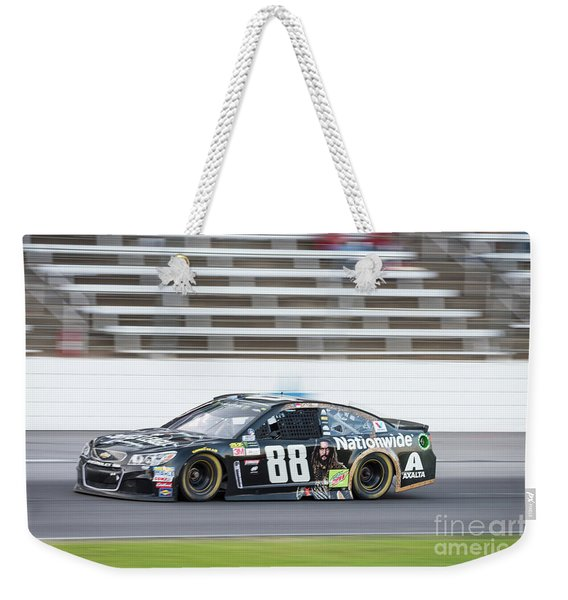 Dale Earnhardt Jr Running Hard At Texas Motor Speedway Weekender Tote Bag