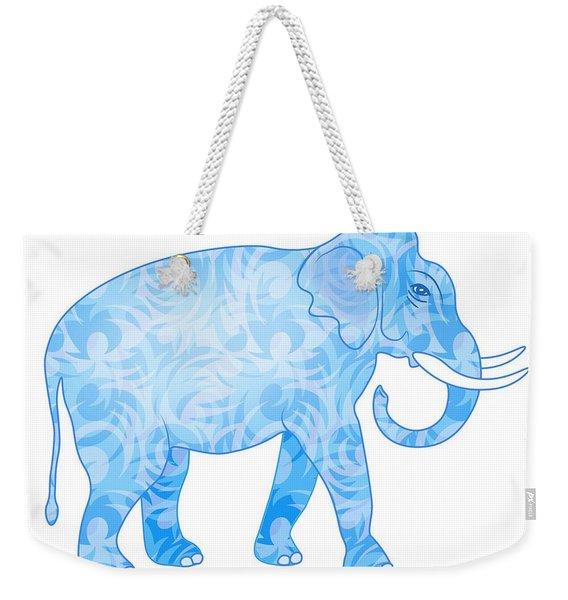 Damask Pattern Elephant Weekender Tote Bag