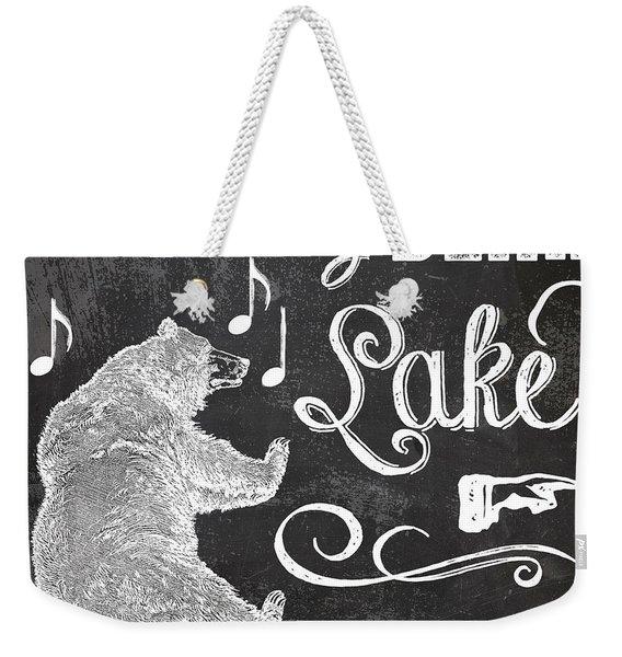 Dancing Bear Lake Rustic Cabin Sign Weekender Tote Bag