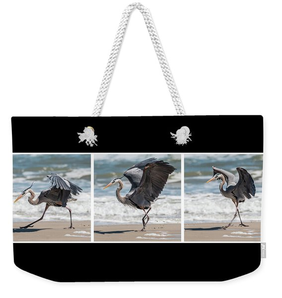 Weekender Tote Bag featuring the photograph Dancing Heron Triptych by Patti Deters