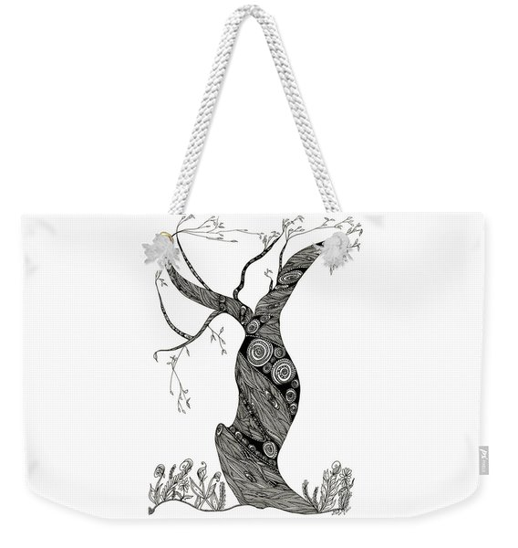 Weekender Tote Bag featuring the drawing Dancing Tree by Barbara McConoughey