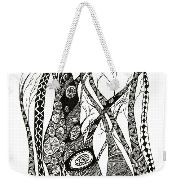 Weekender Tote Bag featuring the drawing Dancing Trees by Barbara McConoughey