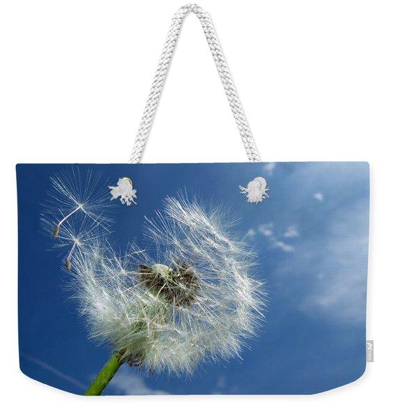 Dandelion And Blue Sky Weekender Tote Bag