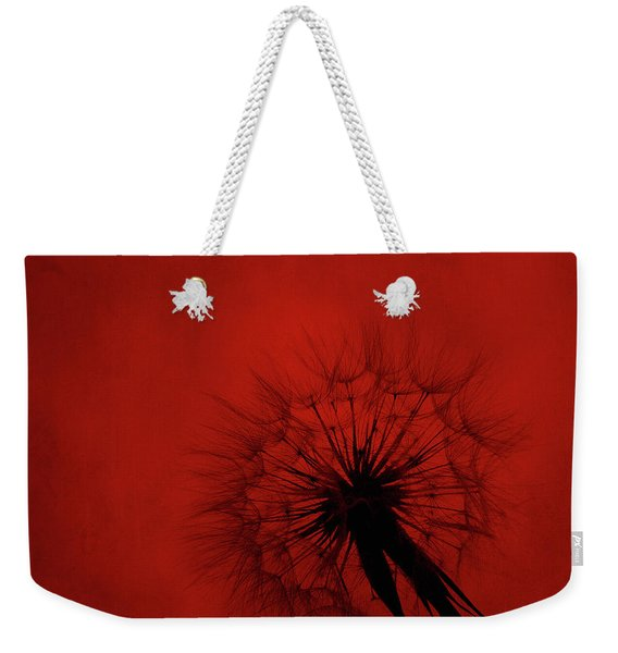 Dandelion Silhouette On Red Textured Background Weekender Tote Bag