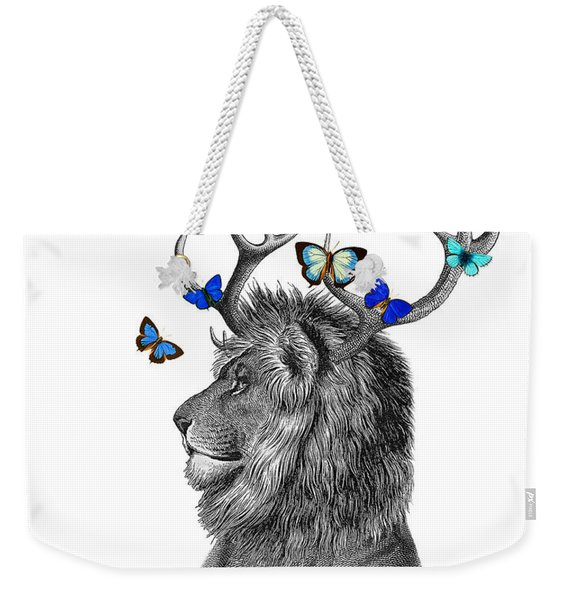 Dandy Lion With Antlers And Blue Butterflies Weekender Tote Bag