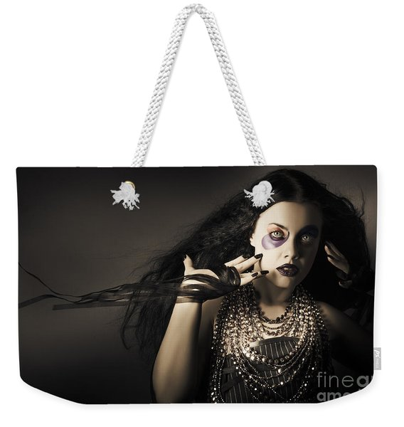 Dark Beauty Woman. Rich Jewellery And Black Nails Weekender Tote Bag