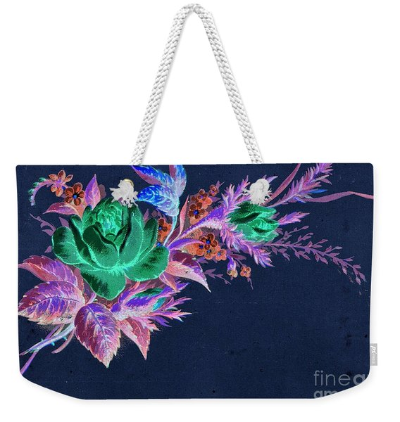 Weekender Tote Bag featuring the mixed media Dark Bouquet by Writermore Arts