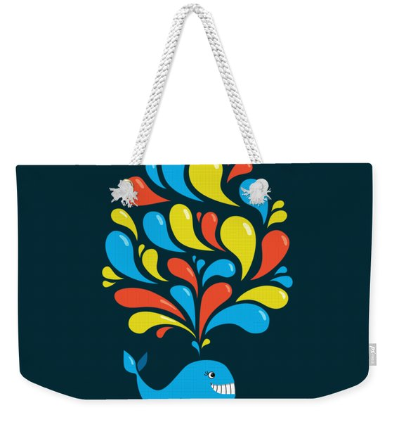 Dark Colorful Splash Happy Cartoon Whale Weekender Tote Bag