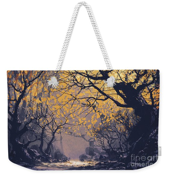 Weekender Tote Bag featuring the painting Dark Forest by Tithi Luadthong