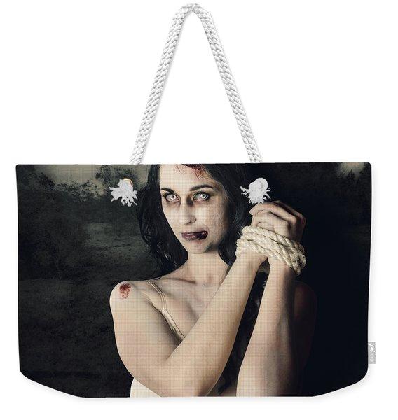 Dark Horror Scene Of An Evil Zombie Woman Tied Up Weekender Tote Bag