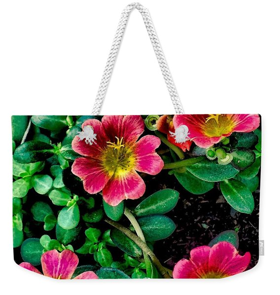 Dark Pink Purselane Flowers Weekender Tote Bag