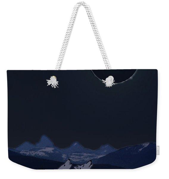 Dark Sky Eclipse Flare Weekender Tote Bag