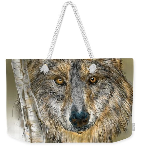 Dark Wolf With Birch Weekender Tote Bag