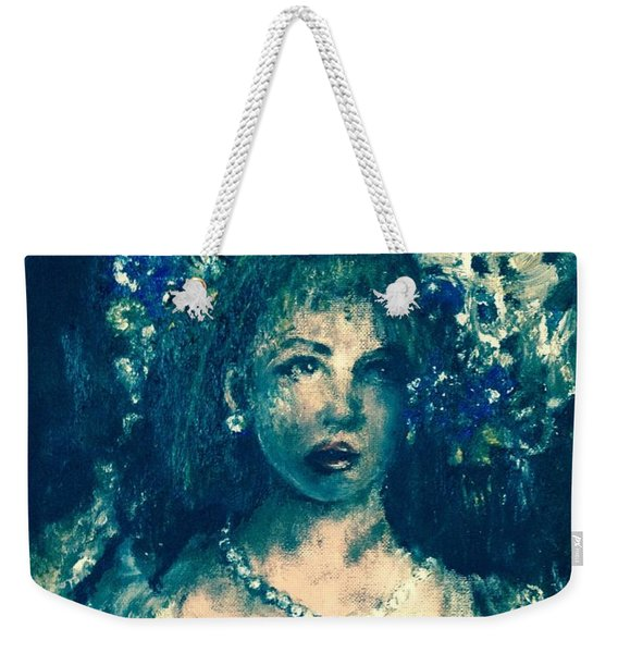 Weekender Tote Bag featuring the photograph Darling Blue by Laurie Lundquist