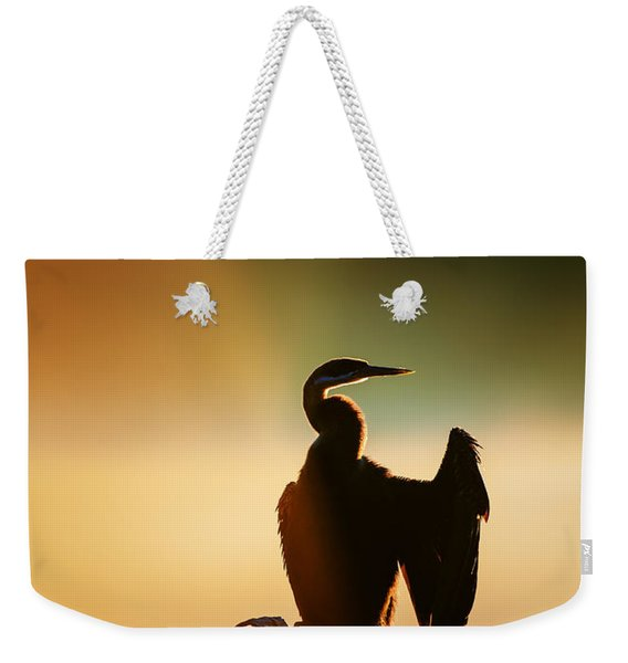 Darter Bird With Misty Sunrise Weekender Tote Bag