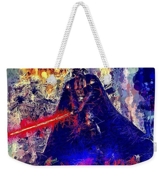 Weekender Tote Bag featuring the mixed media Darth Vader by Al Matra