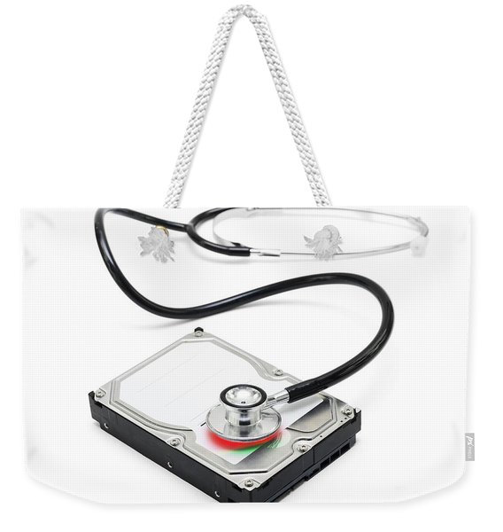 Data Recovery Stethoscope And Hard Drive Disc Weekender Tote Bag