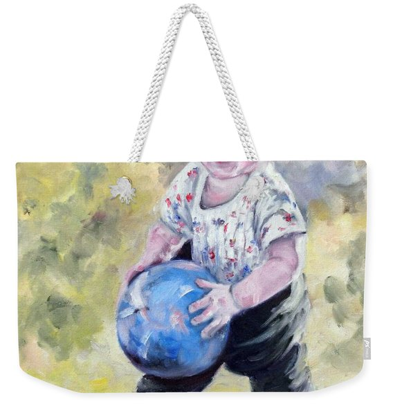 David With His Blue Ball Weekender Tote Bag