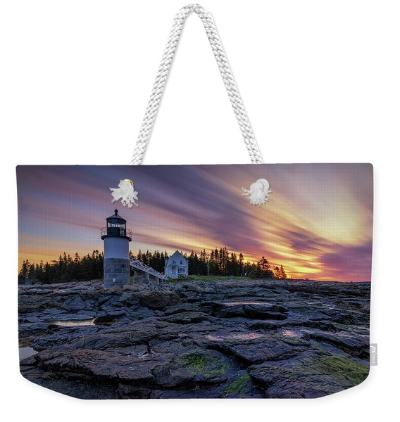 Dawn Breaking At Marshall Point Lighthouse Weekender Tote Bag