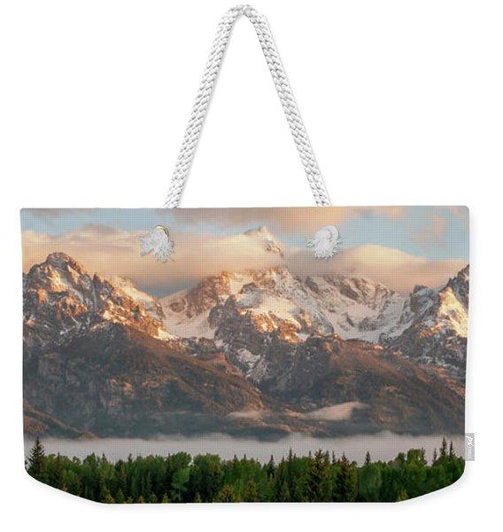 Dawn At Grand Teton National Park Panorama Wyoming Weekender Tote Bag
