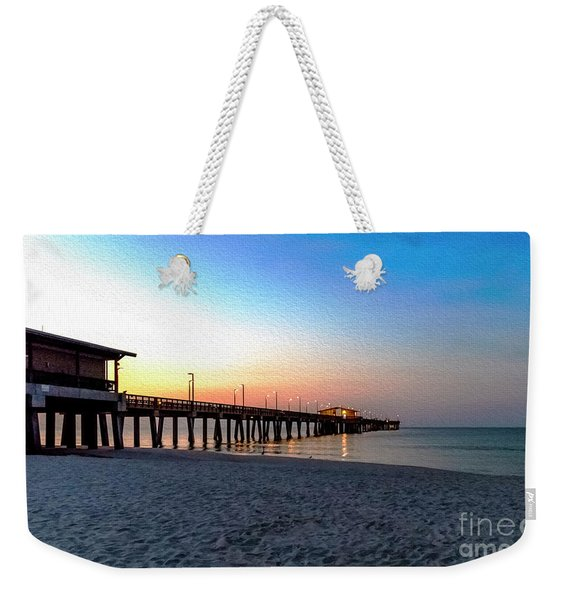 Dawn At Gulf Shores Pier Al Seascape 1283a Digital Painting Weekender Tote Bag