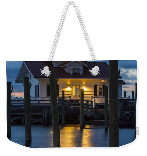 Dawn At Roanoke Marshes Lighthouse Weekender Tote Bag