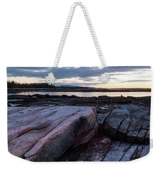 Weekender Tote Bag featuring the photograph Dawn On The Shore In Southwest Harbor, Maine  #40140-40142 by John Bald