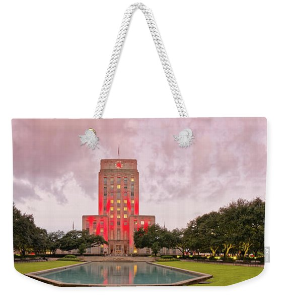 Dawn Panorama Of Houston City Hall At Hermann Square - Downtown Houston Harris County Weekender Tote Bag