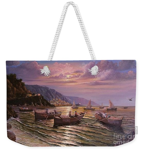Weekender Tote Bag featuring the painting Day Ends On The Amalfi Coast by Rosario Piazza