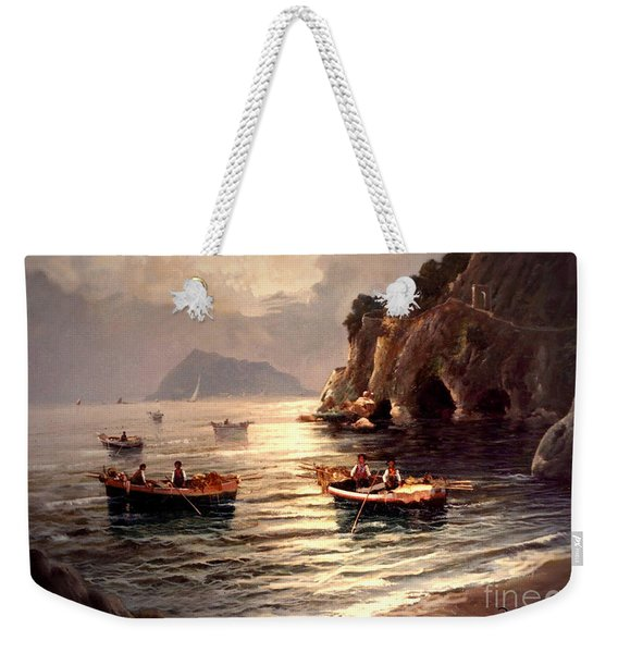 Weekender Tote Bag featuring the painting Day's End And Work Begins In The Gulf Of Naples by Rosario Piazza