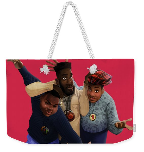 Weekender Tote Bag featuring the drawing De La Soul by Nelson  Dedos Garcia